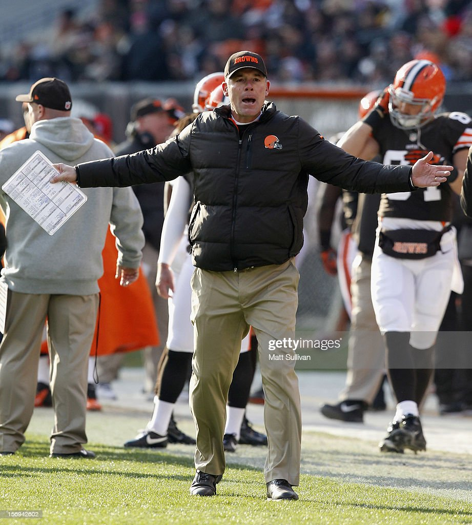 Head coach <a gi-track='captionPersonalityLinkClicked' href=/galleries/search?phrase=Pat+Shurmur&family=editorial&specificpeople=763455 ng-click='$event.stopPropagation()'>Pat Shurmur</a> of the Cleveland Browns yells at the officials against the Pittsburgh Steelers at Cleveland Browns Stadium on November 25, 2012 in Cleveland, Ohio.