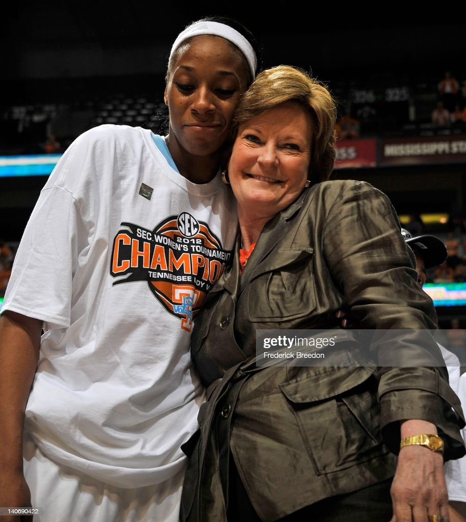 Head coach Pat Summitt and Glory Johnson of the Tennessee Volunteers embrace after winning the SEC Women's Basketball Tournament Championship game at the Bridgestone Arena on March 4, 2012 in Nashville, Tennessee.