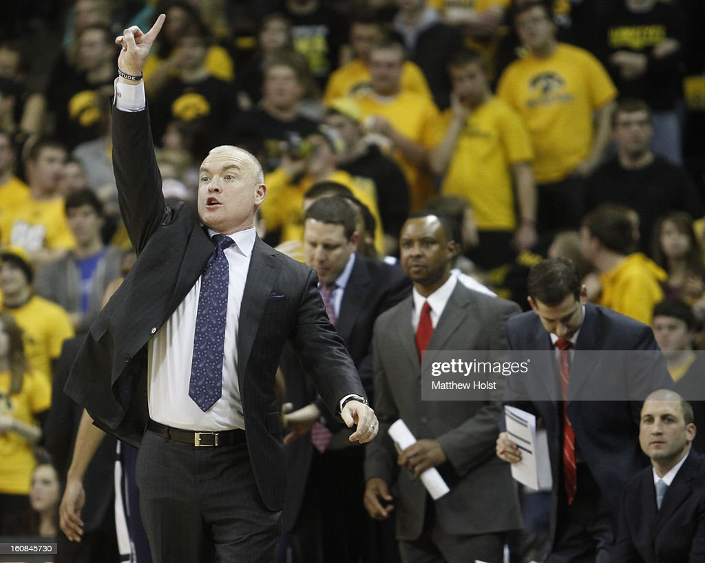 Head coach Patrick Chambers of the Penn State Nittany Lions alls a play during the first half against the Iowa Hawkeyes on January 31, 2013 at Carver-Hawkeye Arena in Iowa City, Iowa. Iowa won 76-67.