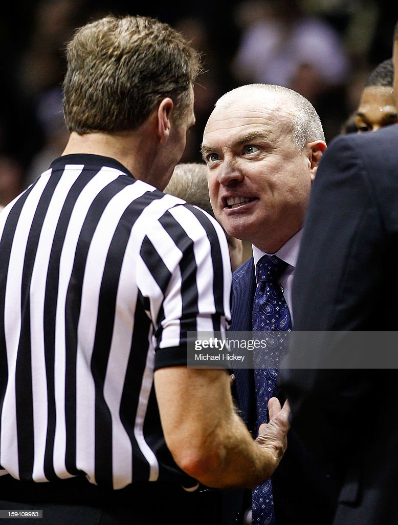Head coach Patrick Chambers of the Penn State Nittany Lions has a discussion with an official during action against the Purdue Boilermakers at Mackey Arena on January 13, 2013 in West Lafayette, Indiana.