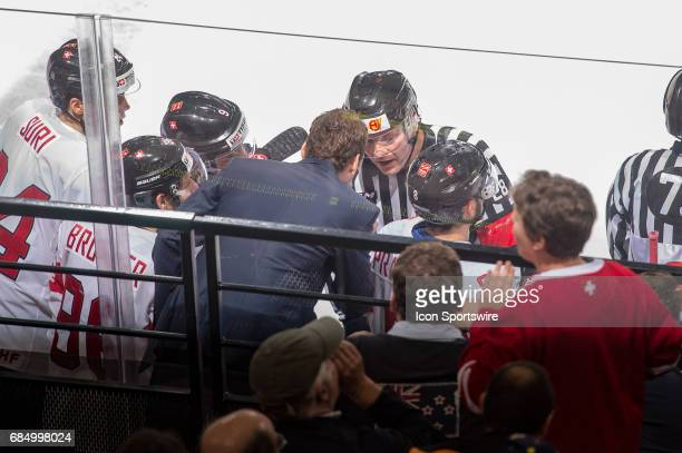 Head Coach Patrick Fischer talks to the referee during the Ice Hockey World Championship Quarterfinal between Switzerland and Sweden at AccorHotels...