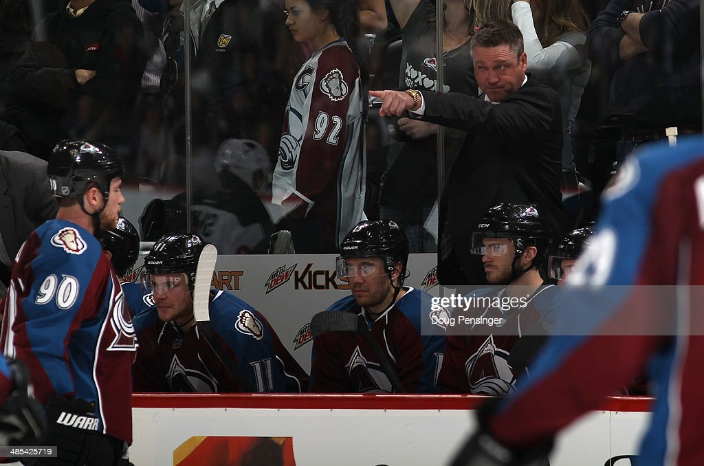 Head coach <a gi-track='captionPersonalityLinkClicked' href=/galleries/search?phrase=Patrick+Roy&family=editorial&specificpeople=204512 ng-click='$event.stopPropagation()'>Patrick Roy</a> of the Colorado Avalanche leads his team against the Minnesota Wild in Game One of the First Round of the 2014 NHL Stanley Cup Playoffs at Pepsi Center on April 17, 2014 in Denver, Colorado. The Avalanche defeated the Wild 5-4 in overtime to take a 1-0 game advantage in the series.