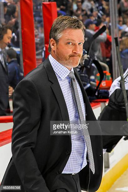 Head Coach Patrick Roy of the Colorado Avalanche leaves the ice following a 53 loss to the Winnipeg Jets on February 8 2015 at the MTS Centre in...