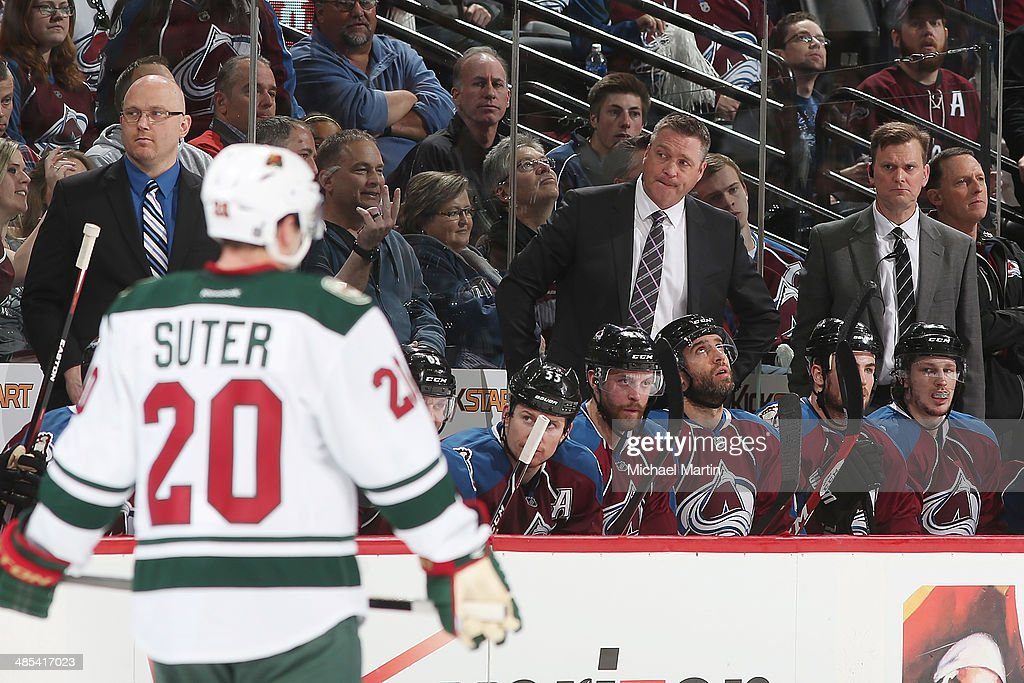 Head Coach Patrick Roy of the Colorado Avalanche looks over to the Minnesota Wild bench in Game One of the First Round of the 2014 Stanley Cup Playoffs at the Pepsi Center on April 17, 2014 in Denver, Colorado.