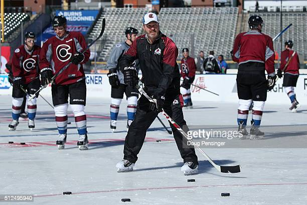 Head coach Patrick Roy of the Colorado Avalanche skates with the team during a practice session on the eve of their game versus the Detroit Red Wings...