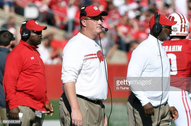 Head Coach Paul Chryst of the Wisconsin Badgers watches the game against the Maryland Terrapins at Camp Randall Stadium on October 21 2017 in Madison...