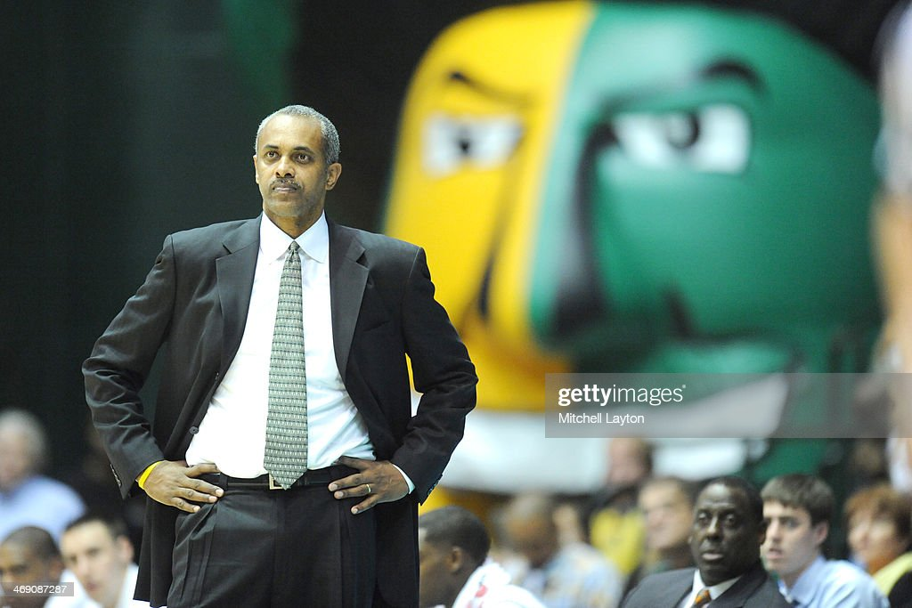 head coach <a gi-track='captionPersonalityLinkClicked' href=/galleries/search?phrase=Paul+Hewitt&family=editorial&specificpeople=213960 ng-click='$event.stopPropagation()'>Paul Hewitt</a> of the George Mason Patriots looks onduring a college basketball game against the Saint Joseph's Hawks on January 11, 2014 at the Patriot Center in Fairfax, Virginia. The Hawks won 84-80.