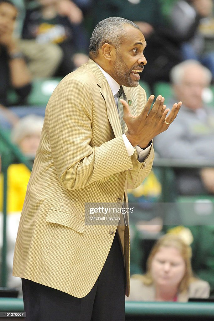 Head coach <a gi-track='captionPersonalityLinkClicked' href=/galleries/search?phrase=Paul+Hewitt&family=editorial&specificpeople=213960 ng-click='$event.stopPropagation()'>Paul Hewitt</a> of the George Mason Patriots reacts to a playl during a college basketball game against the American University Eagles on November 8, 2013 at Patriot Center in Fairfax, Virginia. The Patriots won 63-60.