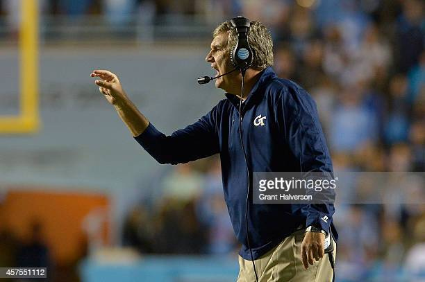 Head coach Paul Johnson of the Georgia Tech Yellow Jackets during their game against the North Carolina Tar Heels at Kenan Stadium on October 18 2014...
