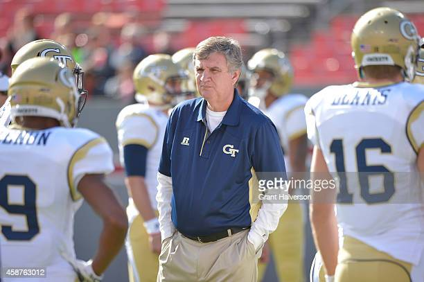 Head coach Paul Johnson of the Georgia Tech Yellow Jackets during their game against the North Carolina State Wolfpack at CarterFinley Stadium on...