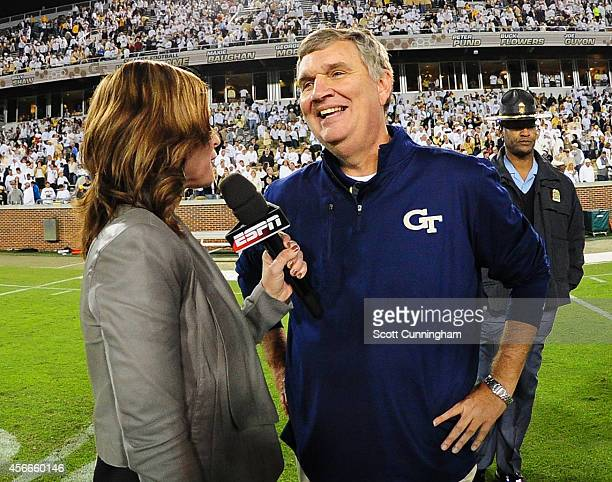 Head Coach Paul Johnson of the Georgia Tech Yellow Jackets is interviewed after the game against the Miami Hurricanes at Bobby Dodd Stadium on...