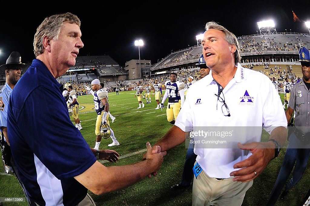Head Coach Paul Johnson of the Georgia Tech Yellow Jackets is congratulated by Jay Hopson of the Alcorn State Braves on September 3 2015 in Atlanta...