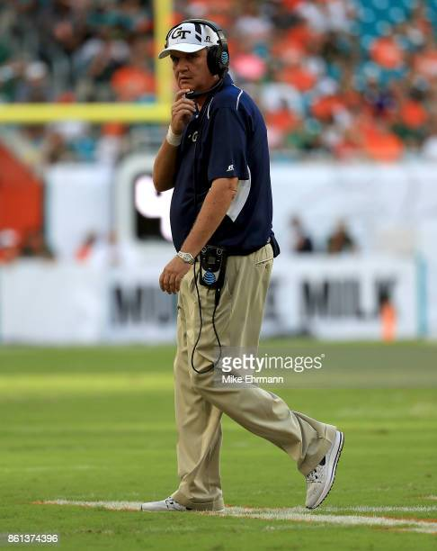 Head coach Paul Johnson of the Georgia Tech Yellow Jackets looks on during a game against the Miami Hurricanes at Sun Life Stadium on October 14 2017...