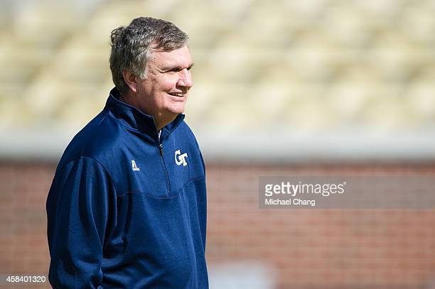 Head coach Paul Johnson of the Georgia Tech Yellow Jackets prior to their game against the Virginia Cavaliers on November 1 2014 at Bobby Dodd...