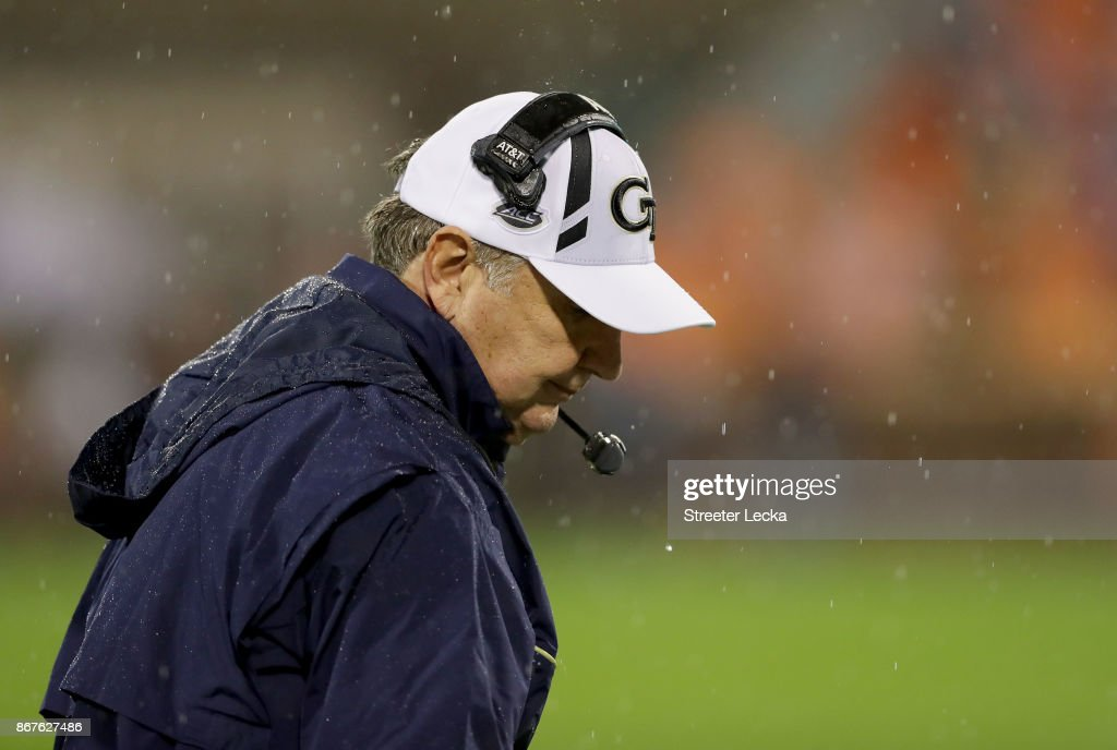 Head coach Paul Johnson of the Georgia Tech Yellow Jackets watche on against the Clemson Tigers during their game at Memorial Stadium on October 28, 2017 in Clemson, South Carolina.