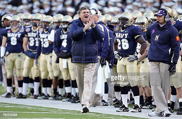 Head coach Paul Johnson of the Navy Midshipmen yells to his team against the Army Black Knights during the 108th Army v Navy football game on...
