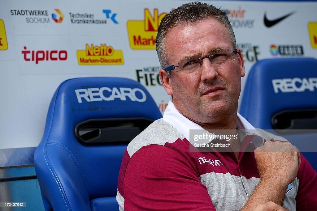 Head coach Paul Lambert looks on prior to the pre-season friendly match between VfL Bochum and Aston Villa at Rewirpower Stadium on July 14, 2013 in Bochum, Germany.