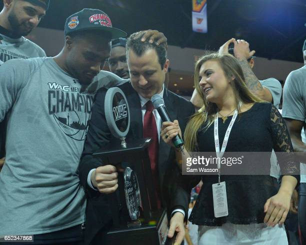 Head coach Paul Weir of the New Mexico State Aggies is interviewed by Western Athletic Conference digital correspondent Jessie Punch while being...
