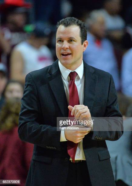 Head coach Paul Weir of the New Mexico State Aggies looks on during the championship game of the Western Athletic Conference Basketball tournament at...