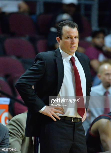Head coach Paul Weir of the New Mexico State Aggies looks onduring the championship game of the Western Athletic Conference Basketball tournament at...