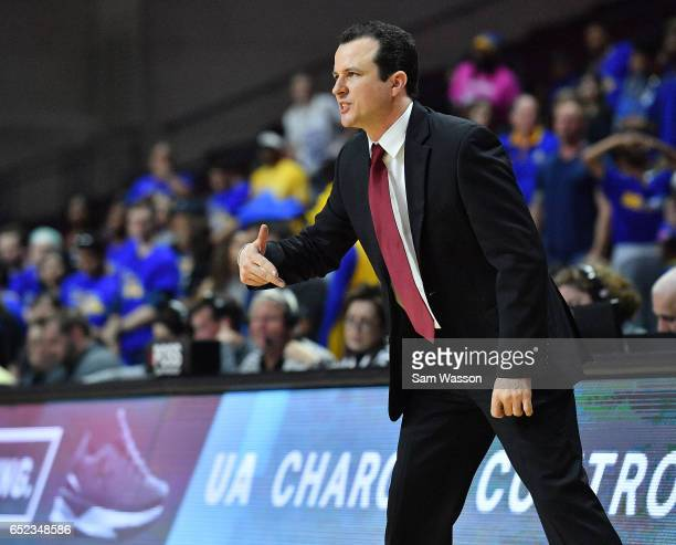 Head coach Paul Weir of the New Mexico State Aggies reacts during the championship game of the Western Athletic Conference Basketball tournament at...