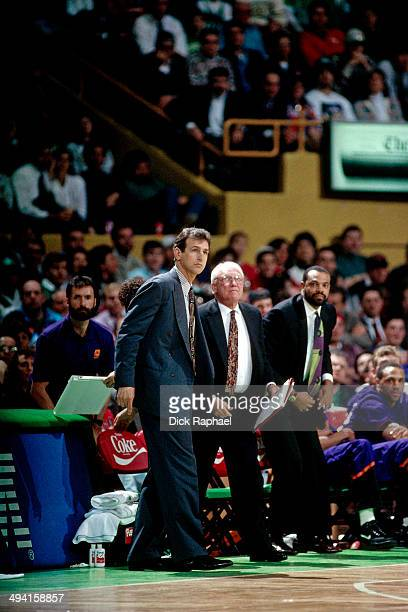 Head Coach Paul Westphal of the Phoenix Suns looks on during a game against the Boston Celtics played at the Boston Garden in Boston Massachusetts...