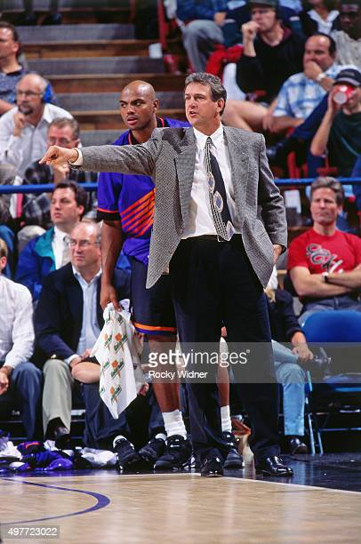 Head Coach Paul Westphal of the Phoenix Suns points against the Sacramento Kings circa 1996 at Arco Arena in Sacramento California NOTE TO USER User...