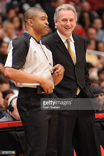 Head Coach Paul Westphal of the Sacramento Kings talks to a referee during the game against the Los Angeles Clippers at Staples Center on March 21...