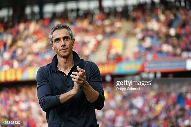 Head coach Paulo Sousa applauds the fans prior to the Raiffeisen Super League match between FC Basel and FC Zurich at St JakobPark on August 9 2014...