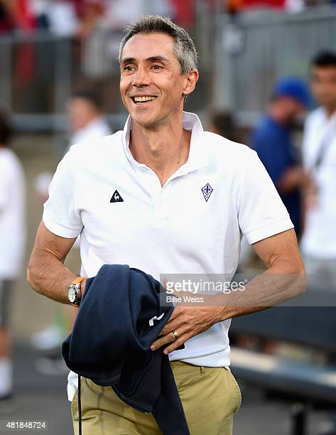Head coach Paulo Sousa of ACF Fiorentina reacts before an International Champions Cup 2015 match against SL Benfica at Rentschler Field on July 24...