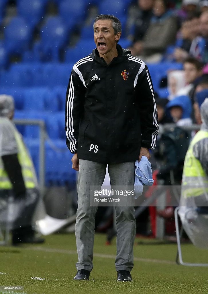 Head Coach Paulo Sousa of Basel reacts during the Raiffeisen Super League match between FC Basel and BSC Young Boys Bern at St.Jakob-Park on August 31, 2014 in Basel, Switzerland.