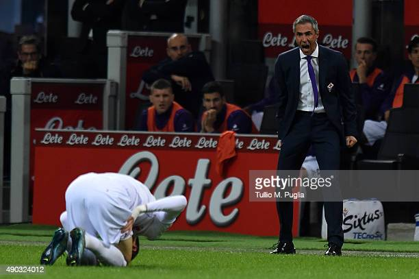 Head Coach Paulo Sousa of Fiorentina reacts during the Serie A match between FC Internazionale Milano and ACF Fiorentina at Stadio Giuseppe Meazza on...
