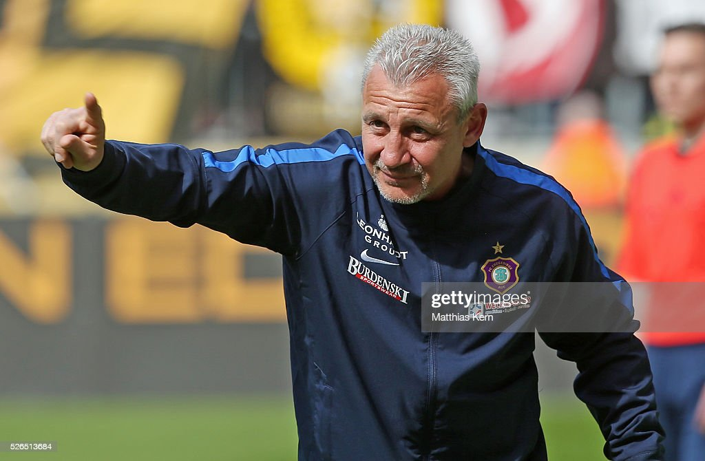 Head coach Pavel Dotchev of Aue gestures during the third league match between SG Dynamo Dresden and Erzgebirge Aue at DDV Stadion Dresden on April 30, 2016 in Dresden, Germany.