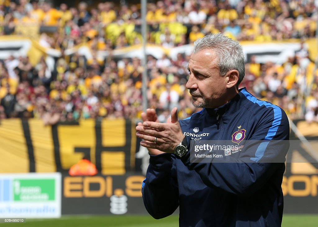 Head coach Pavel Dotchev of Aue looks on prior to the third league match between SG Dynamo Dresden and Erzgebirge Aue at DDV Stadion Dresden on April 30, 2016 in Dresden, Germany.