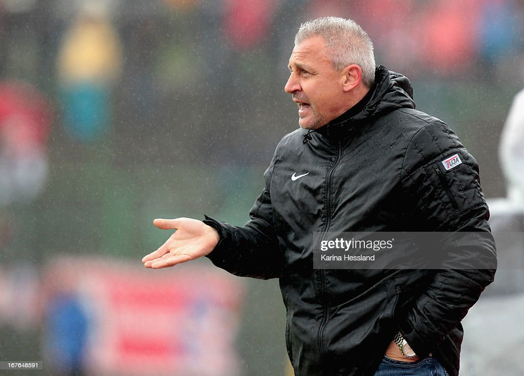 Head coach <a gi-track='captionPersonalityLinkClicked' href=/galleries/search?phrase=Pavel+Dotchev&family=editorial&specificpeople=2361401 ng-click='$event.stopPropagation()'>Pavel Dotchev</a> of Muenster gestures during the 3rd Liga match between RW Erfurt and Preussen Muenster at Steigerwald Stadion on April 27, 2013 in Erfurt, Germany. (Photo by Karina Hessland/Bongarts/Getty Images) at Steigerwald Stadion on April 27, 2013 in Erfurt, Germany.