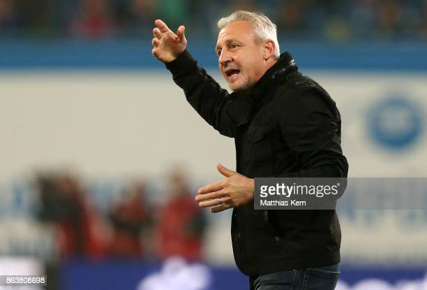 Head coach Pavel Dotchev of Rostock gestures during the third league match between FC Hansa Rostock and VfL Osnabrueck at Ostseestadion on October 20...