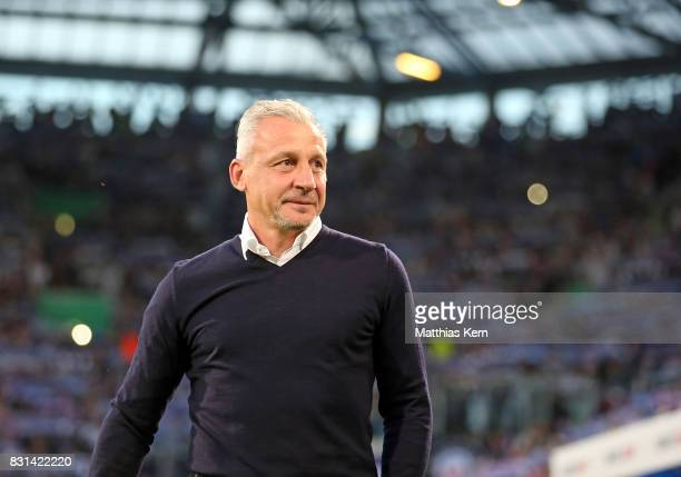 Head coach Pavel Dotchev of Rostock looks on prior to the DFB Cup first round match between FC Hansa Rostock and Hertha BSC at Ostseestadion on...