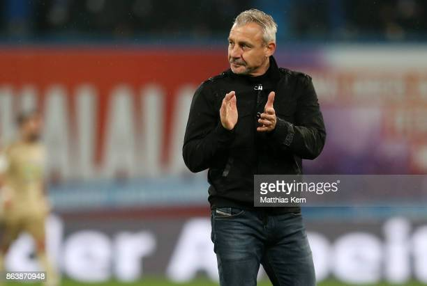 Head coach Pavel Dotchev of Rostock shows his delight after winning the third league match between FC Hansa Rostock and VfL Osnabrueck at...