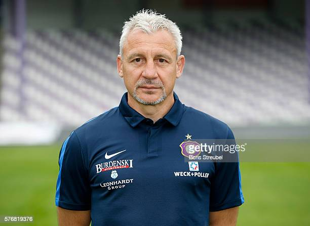 Head coach Pavel Dotchev poses during the FC Erzgebirge Aue Team Presentation at Sparkassenerzgebirgsstadion on July 17 2016 in Aue Germany