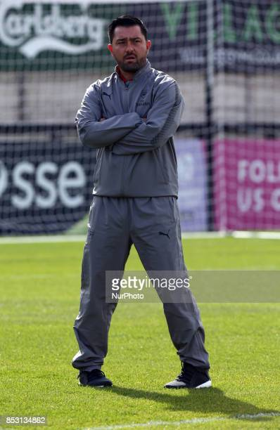 Head Coach Pedro Martínez Losa of Arsenal Women during Women's Super League 1 match between Arsenal Women against Birmingham City Ladies at...