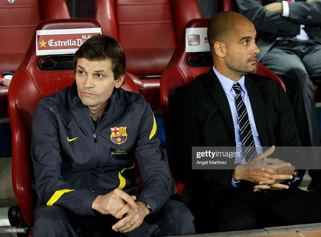 Head coach Pep Guardiola (R) of Barcelona looks on beside his assistant <a gi-track='captionPersonalityLinkClicked' href=/galleries/search?phrase=Tito+Vilanova&family=editorial&specificpeople=5807709 ng-click='$event.stopPropagation()'>Tito Vilanova</a> during the Copa del Rey Final match between Athletic Bilbao and Barcelona at Vicente Calderon Stadium on May 25, 2012 in Madrid, Spain.