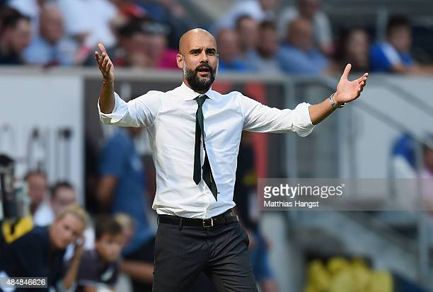 Head coach Pep Guardiola of Muenchen gestures during the Bundesliga match between 1899 Hoffenheim and FC Bayern Muenchen at Wirsol RheinNeckarArena...