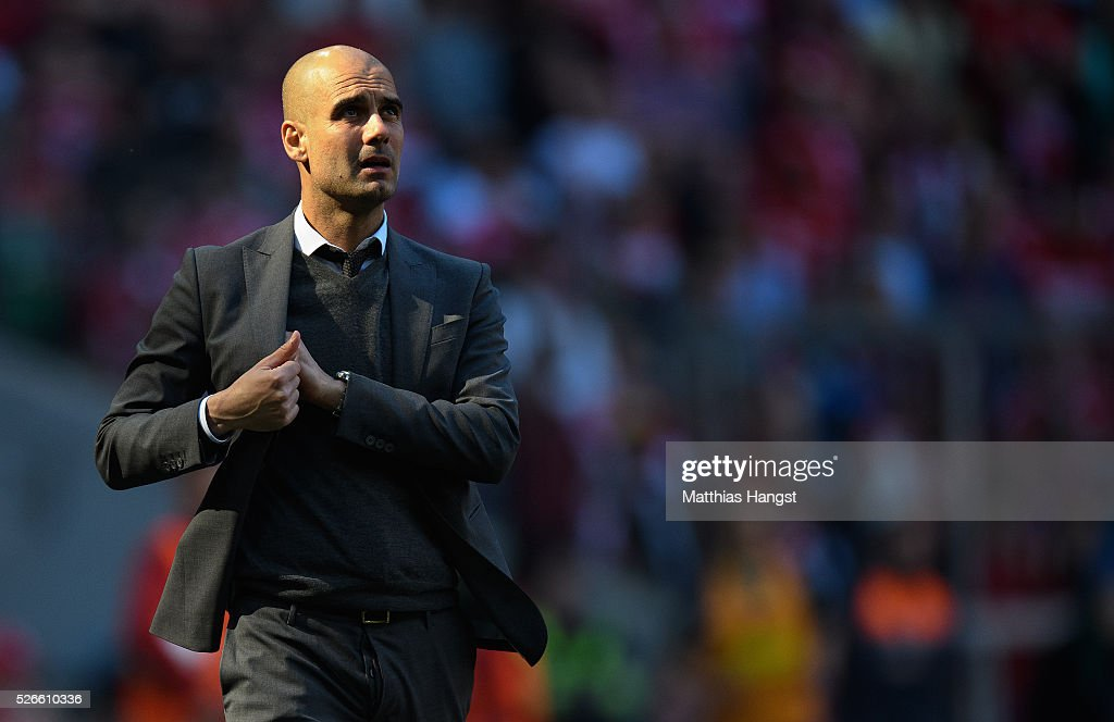 Head coach Pep Guardiola of Muenchen seen during the Bundesliga match between FC Bayern Muenchen and Borussia Moenchengladbach at Allianz Arena on April 30, 2016 in Munich, Germany.