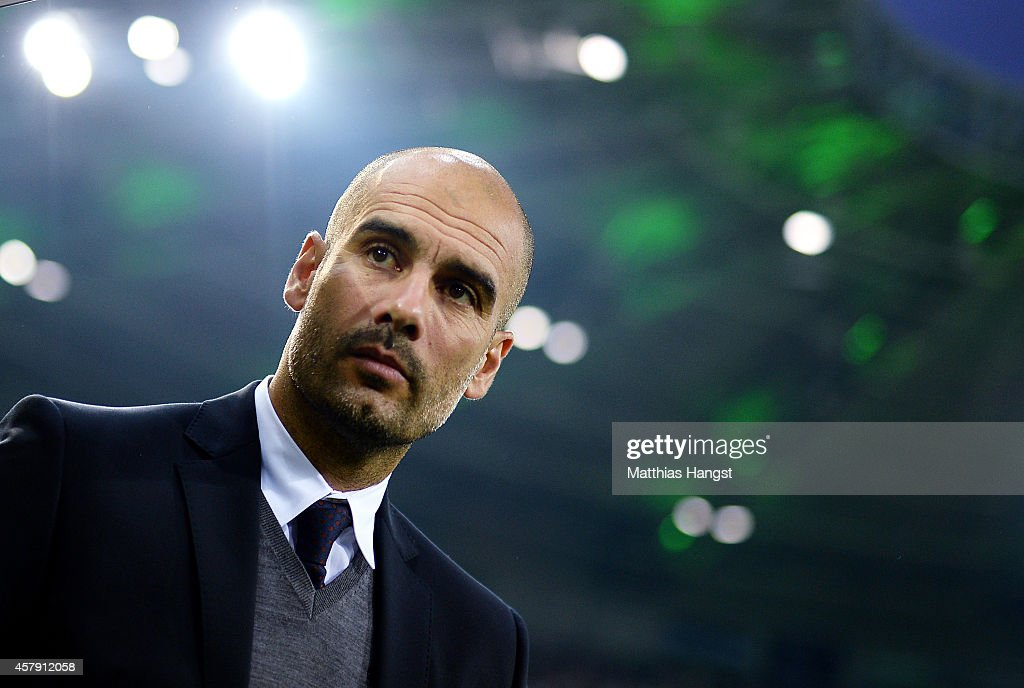 Head coach Pep Guardiola of Muenchen seen prior to the Bundesliga match between Borussia Moenchengladbach and FC Bayern Muenchen at Borussia Park on October 26, 2014 in Moenchengladbach, Germany.