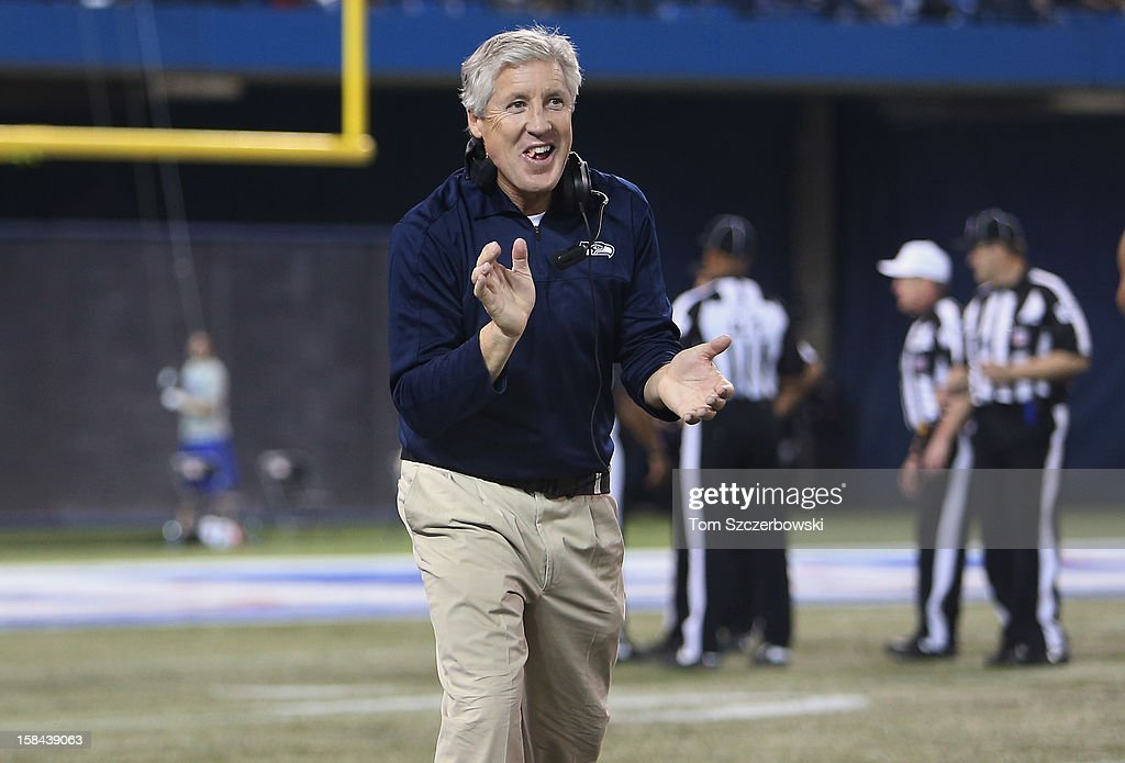 Head coach <a gi-track='captionPersonalityLinkClicked' href=/galleries/search?phrase=Pete+Carroll+-+Head+Coach&family=editorial&specificpeople=213057 ng-click='$event.stopPropagation()'>Pete Carroll</a> of the Seattle Seahawks celebrates after the Seahawks made an interception during an NFL game against the Buffalo Bills at Rogers Centre on December 16, 2012 in Toronto, Ontario, Canada.