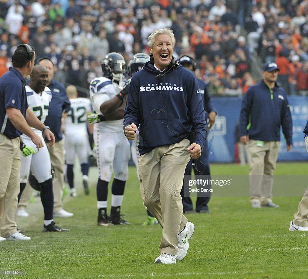 Head coach Pete Carroll of the Seattle Seahawks coaches against the Chicago Bears on December 2, 2012 at Soldier Field in Chicago, Illinois.The Seattle Seahawks defeated the Chicago Bears 23-17 in overtime.