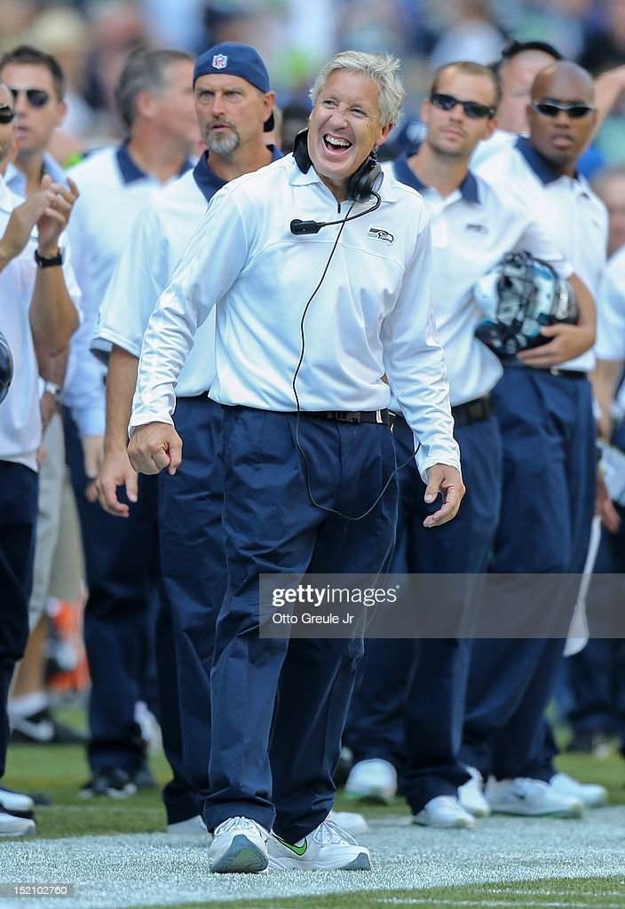 Head coach <a gi-track='captionPersonalityLinkClicked' href=/galleries/search?phrase=Pete+Carroll+-+Head+Coach&family=editorial&specificpeople=213057 ng-click='$event.stopPropagation()'>Pete Carroll</a> of the Seattle Seahawks looks on against the Dallas Cowboys at CenturyLink Field on September 16, 2012 in Seattle, Washington. The Seahawks defeated the Cowboys 27-7.