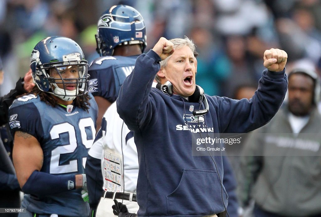 Head coach Pete Carroll of the Seattle Seahawks reacts in the second quarter against the New Orleans Saints during the 2011 NFC wild-card playoff game at Qwest Field on January 8, 2011 in Seattle, Washington.