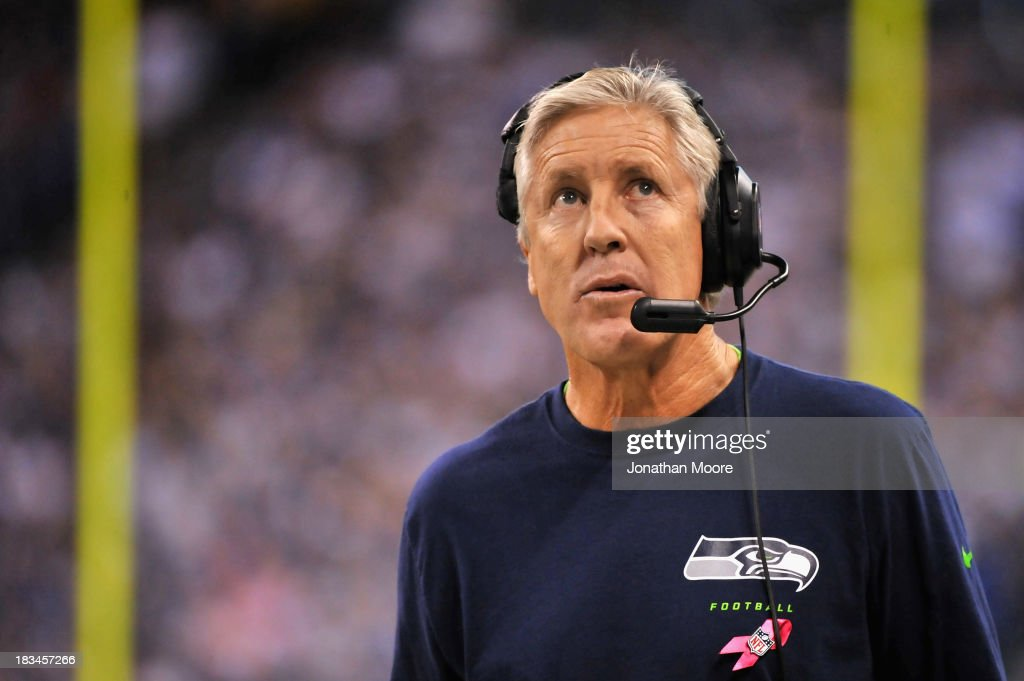 Head Coach <a gi-track='captionPersonalityLinkClicked' href=/galleries/search?phrase=Pete+Carroll+-+Head+Coach&family=editorial&specificpeople=213057 ng-click='$event.stopPropagation()'>Pete Carroll</a> of the Seattle Seahawks reacts on the sideline during a game against the Indianapolis Colts at Lucas Oil Stadium on October 6, 2013 in Indianapolis, Indiana.