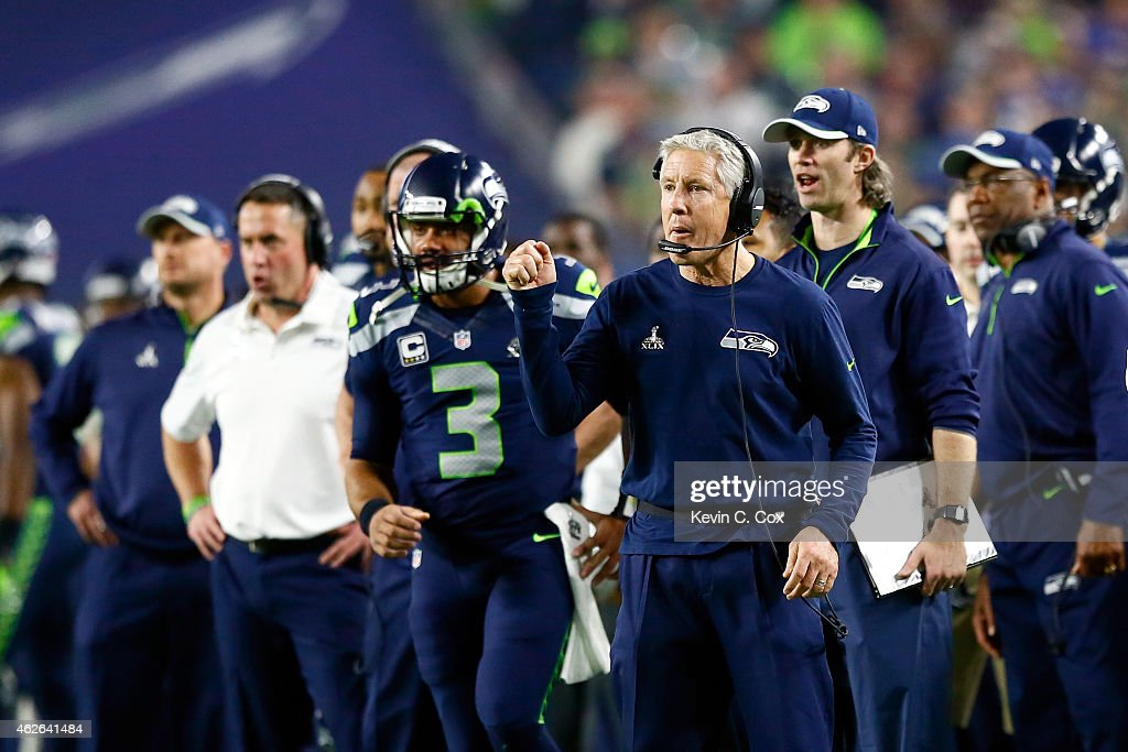 Head coach Pete Carroll of the Seattle Seahawks reacts on the sideline in the third quarter against New England Patriots during Super Bowl XLIX at...